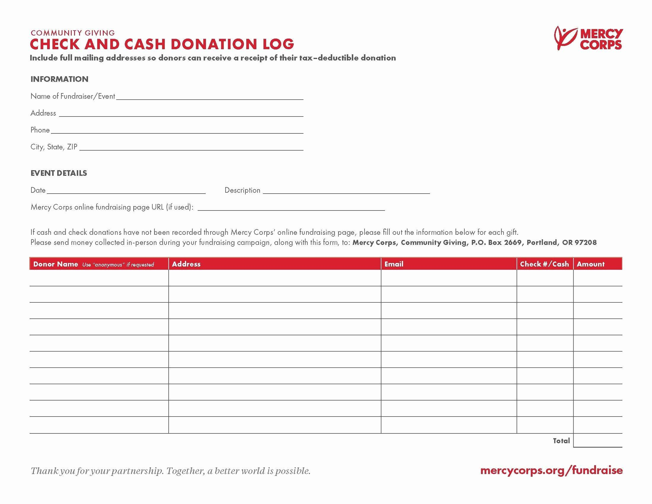 Tax Deductible Donation Form Template