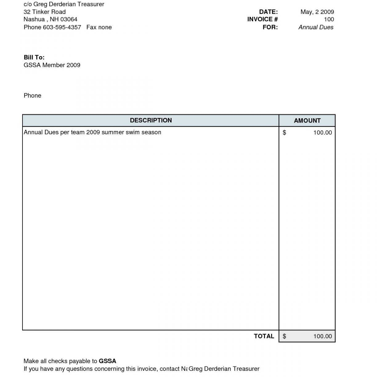 Tax Invoice Template Word Doc Free Download