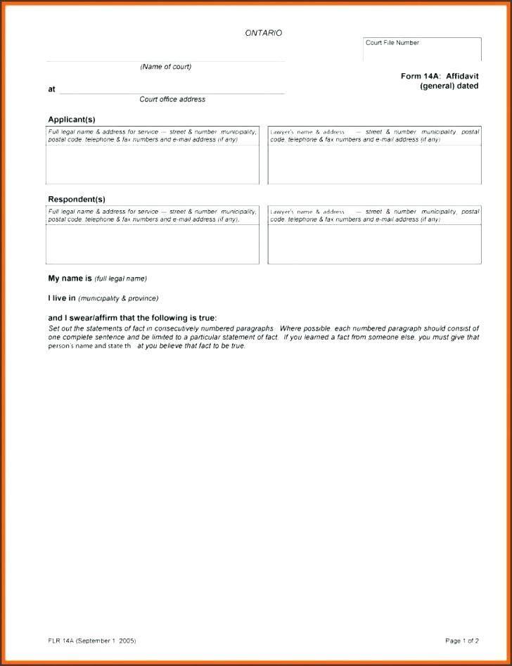 Template Affidavit Of Service