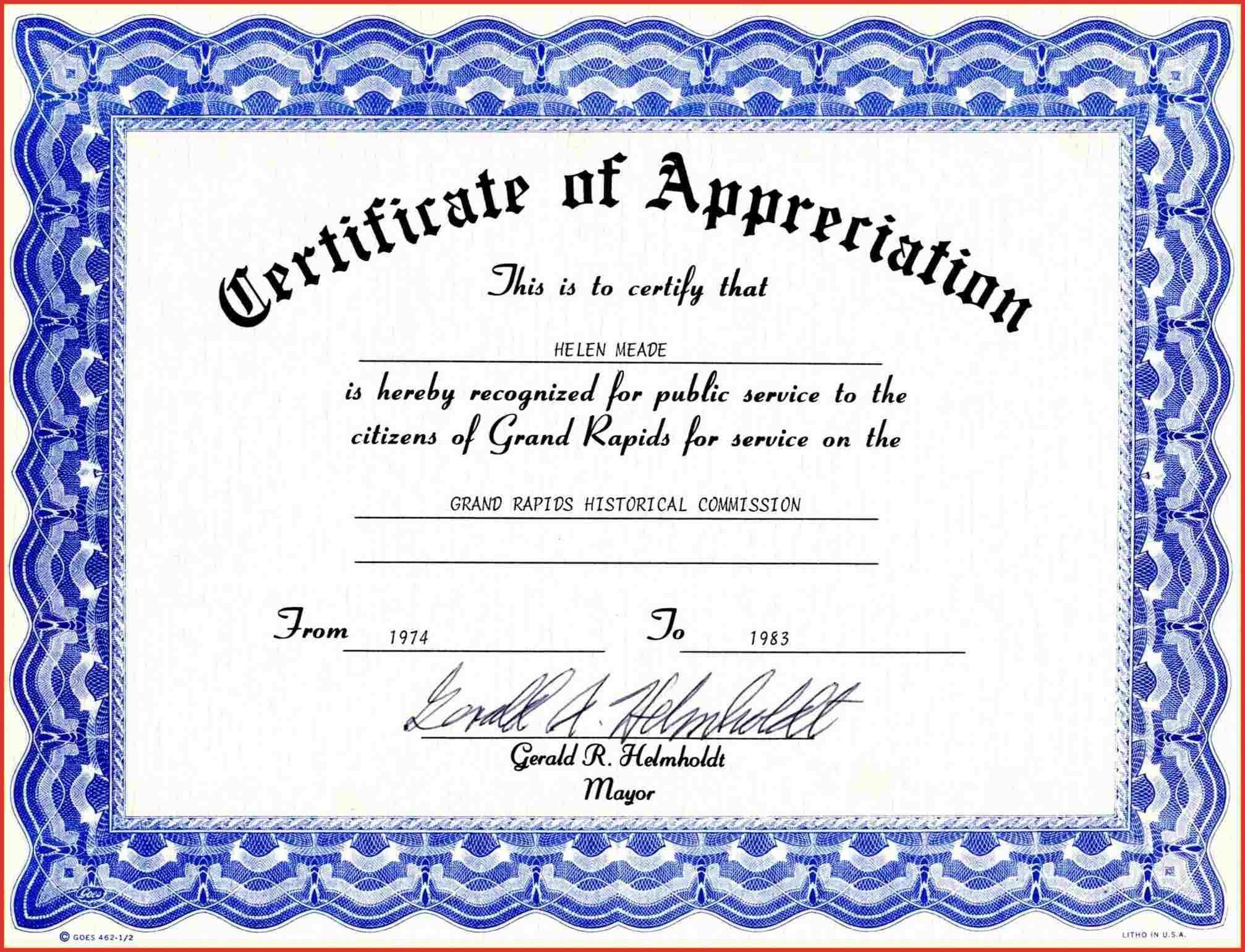 Template Certificate Of Appreciation Ppt