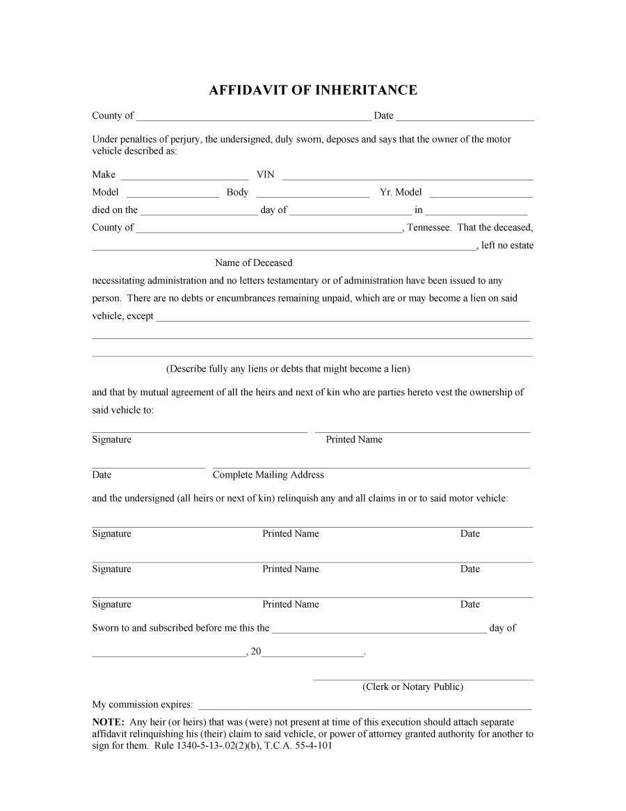 Template For Affidavit