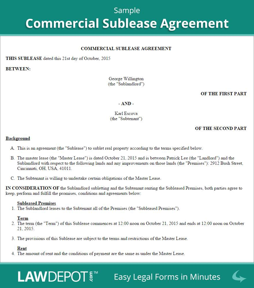 Template For Commercial Sublease Agreement