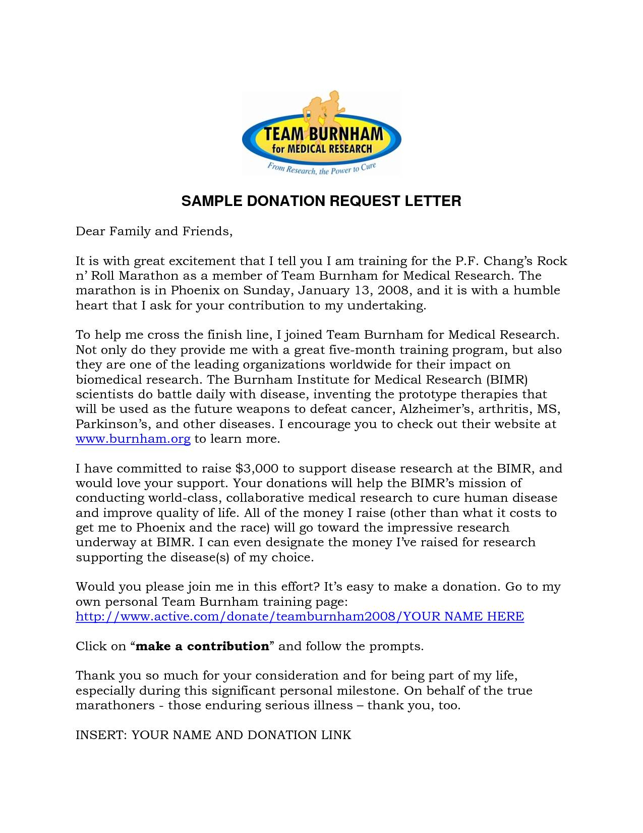 Template For Donation Request Letter