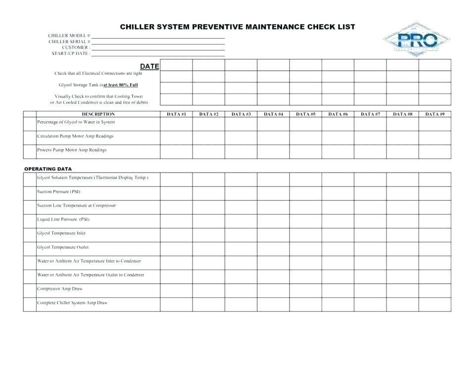Template For Planned Preventive Maintenance Program