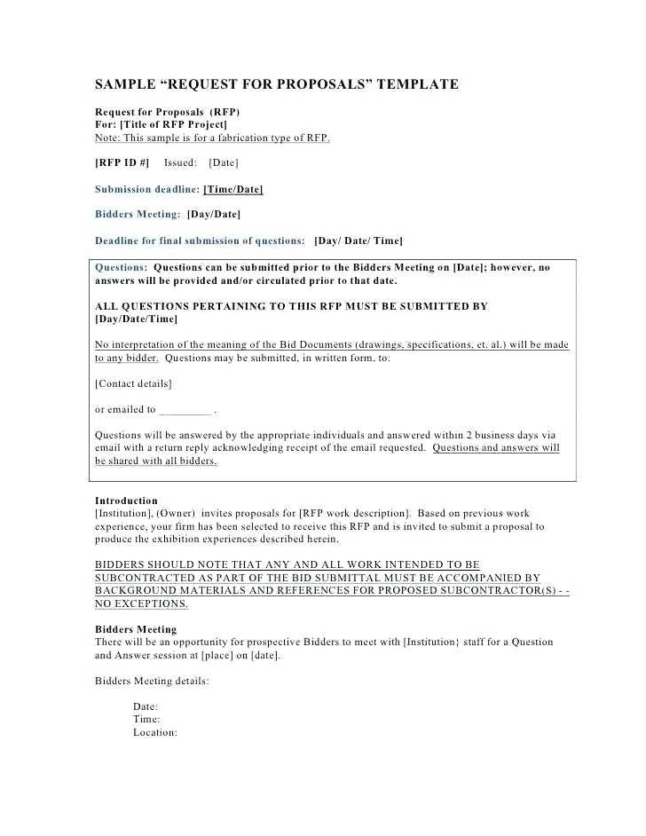 Template For Rfp Document