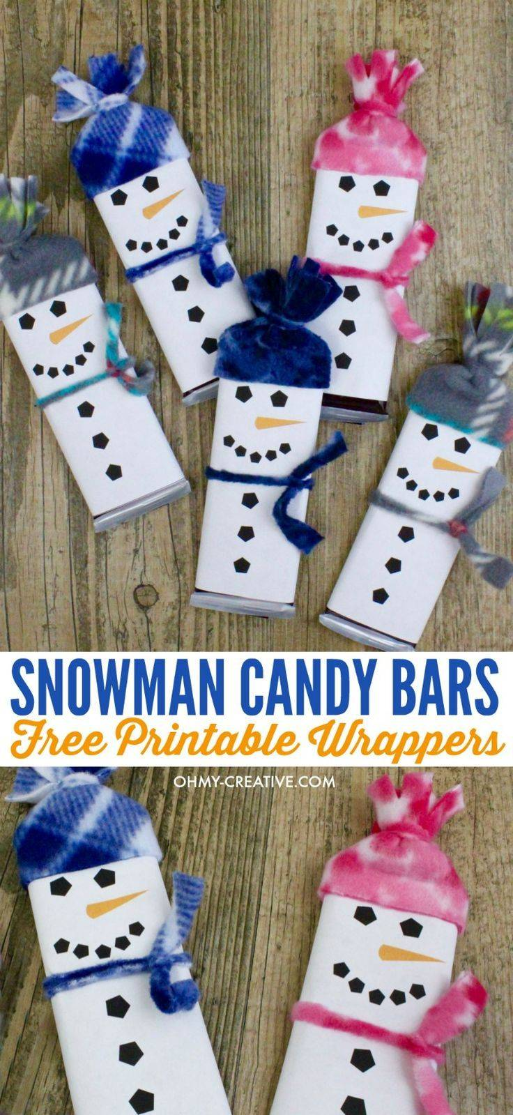 Template For Snowman Candy Bar Wrapper