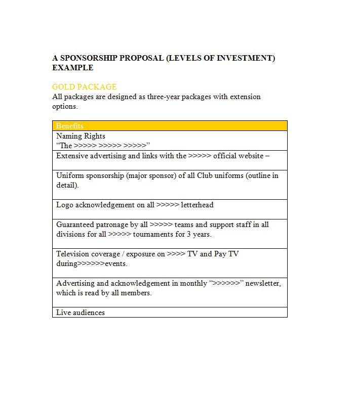 Template For Sponsorship Proposal