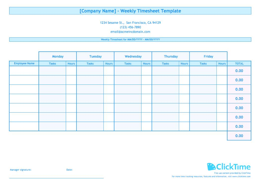 Template For Timesheet