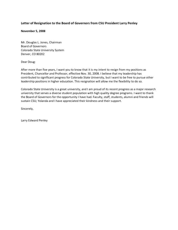 Template Letter Of Resignation Of Director