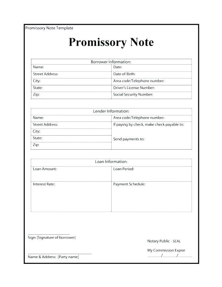 Template Of Promissory Note Loan Note
