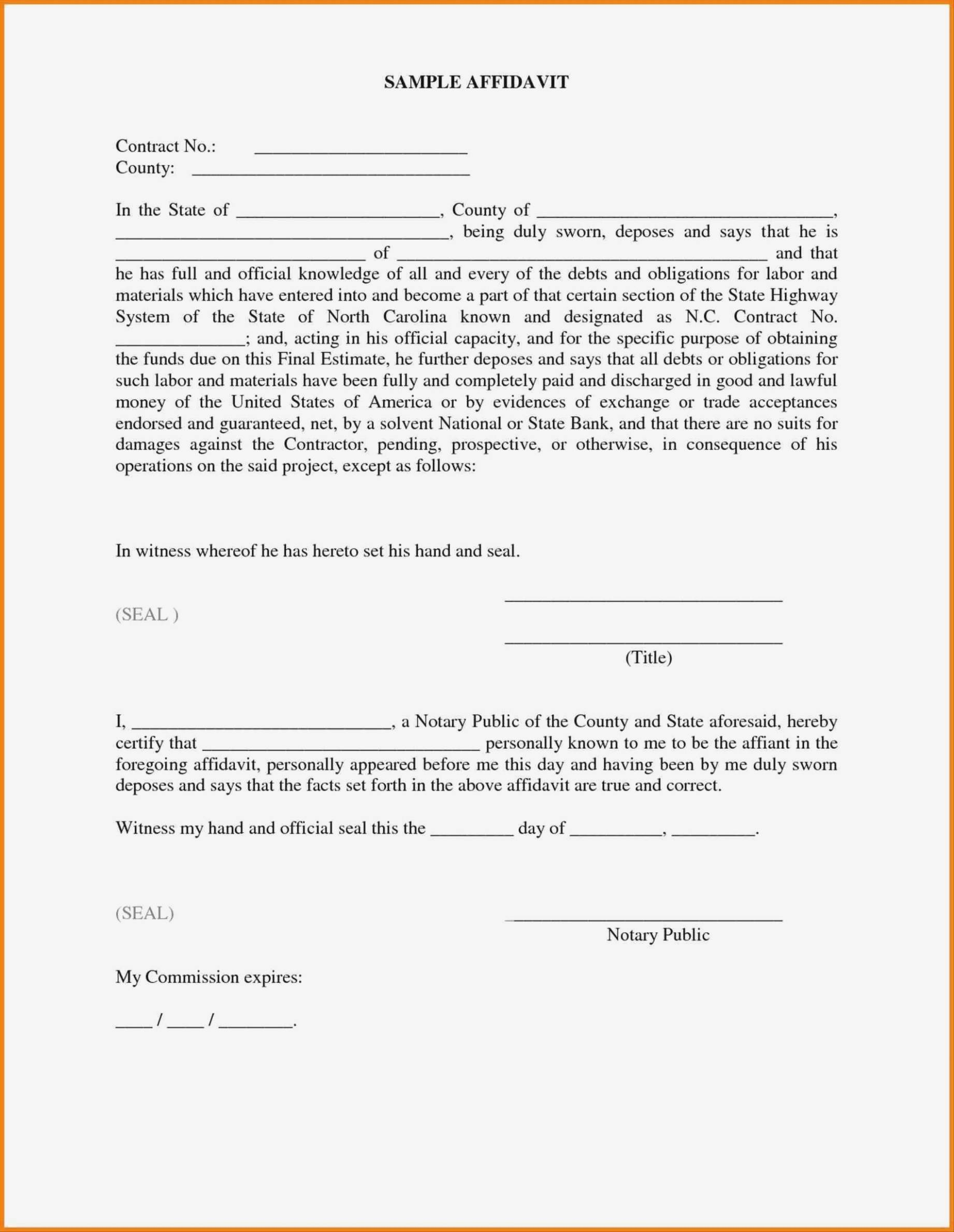 Template Of Sworn Affidavit