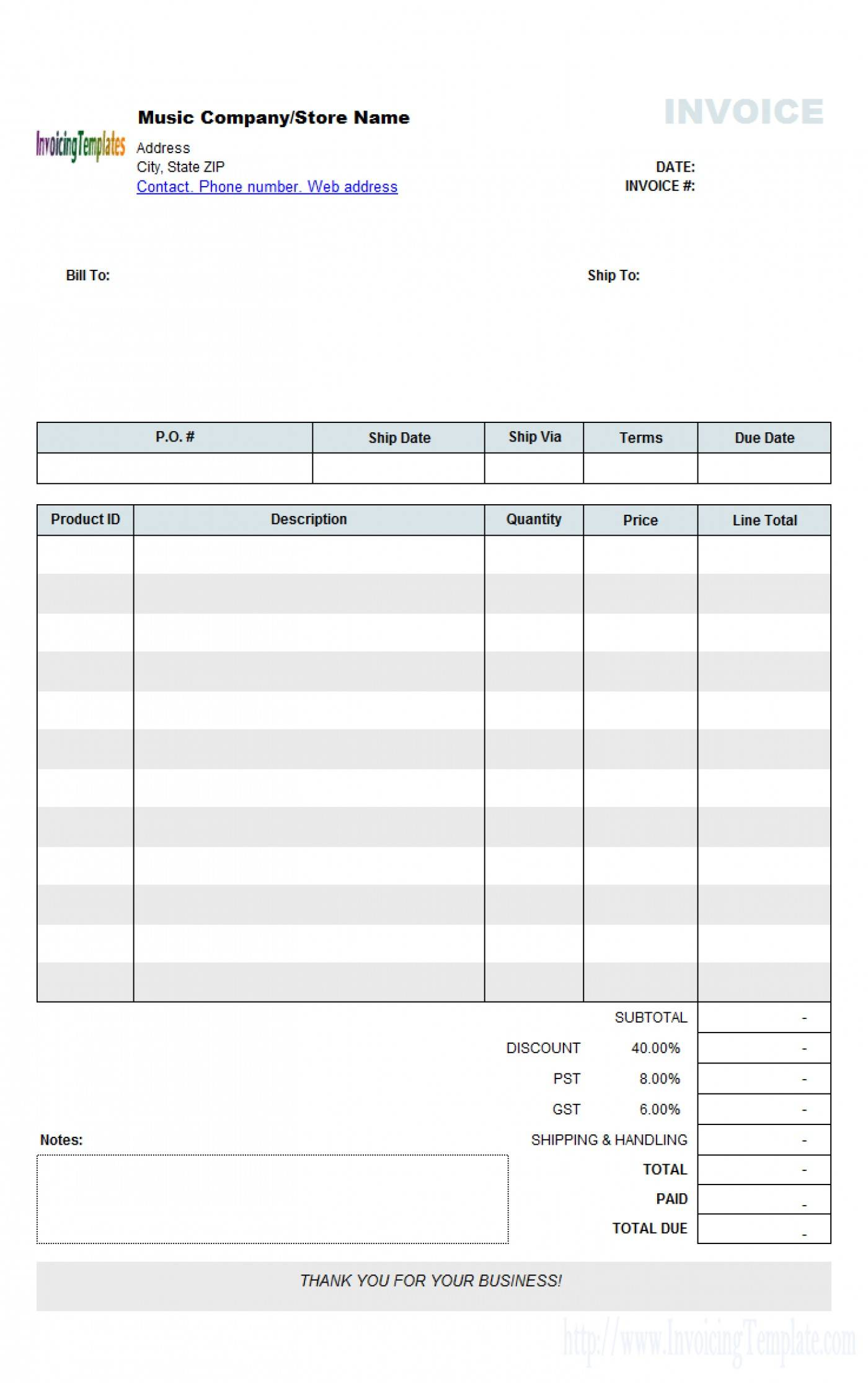 Template Sales Receipt Basic