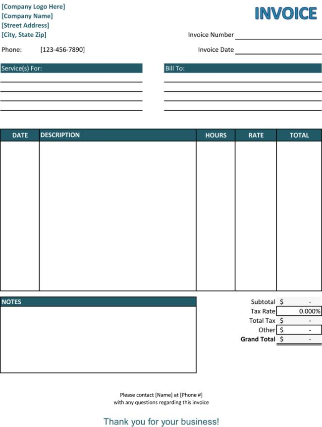 Templates For Service Invoices