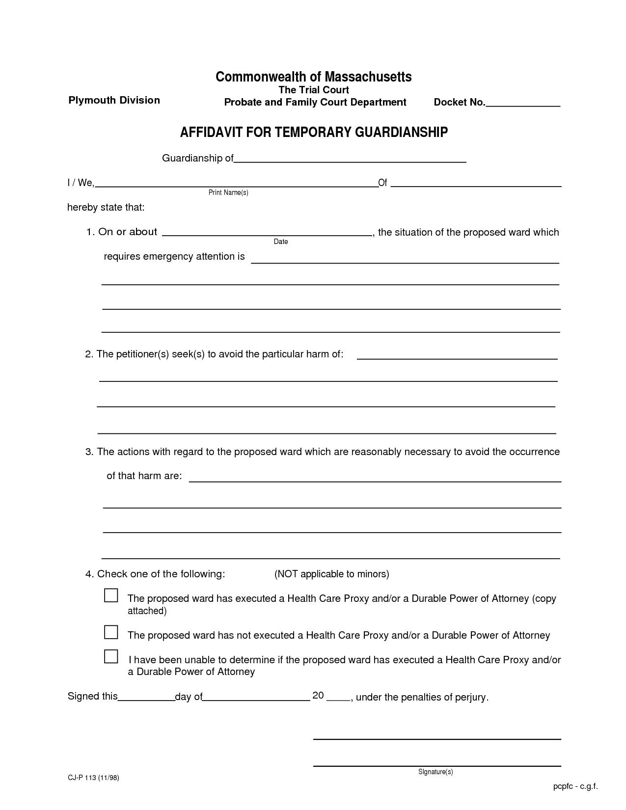 Temporary Guardianship Template Free