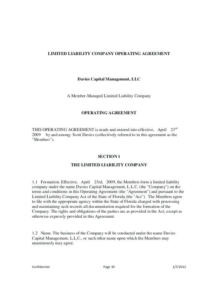 Texas Llc Operating Agreement Template Free Templates