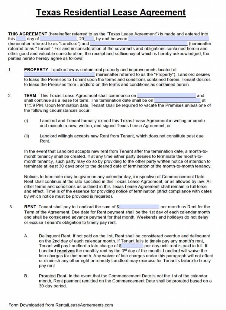 Texas Residential Lease Agreement Template Free