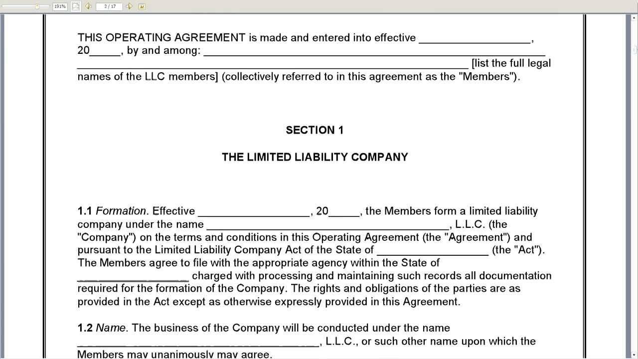 Texas Llc Operating Agreement Template Free Templates