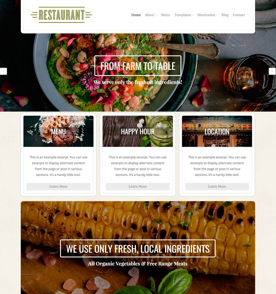 Theme Wordpress Responsive Restaurant