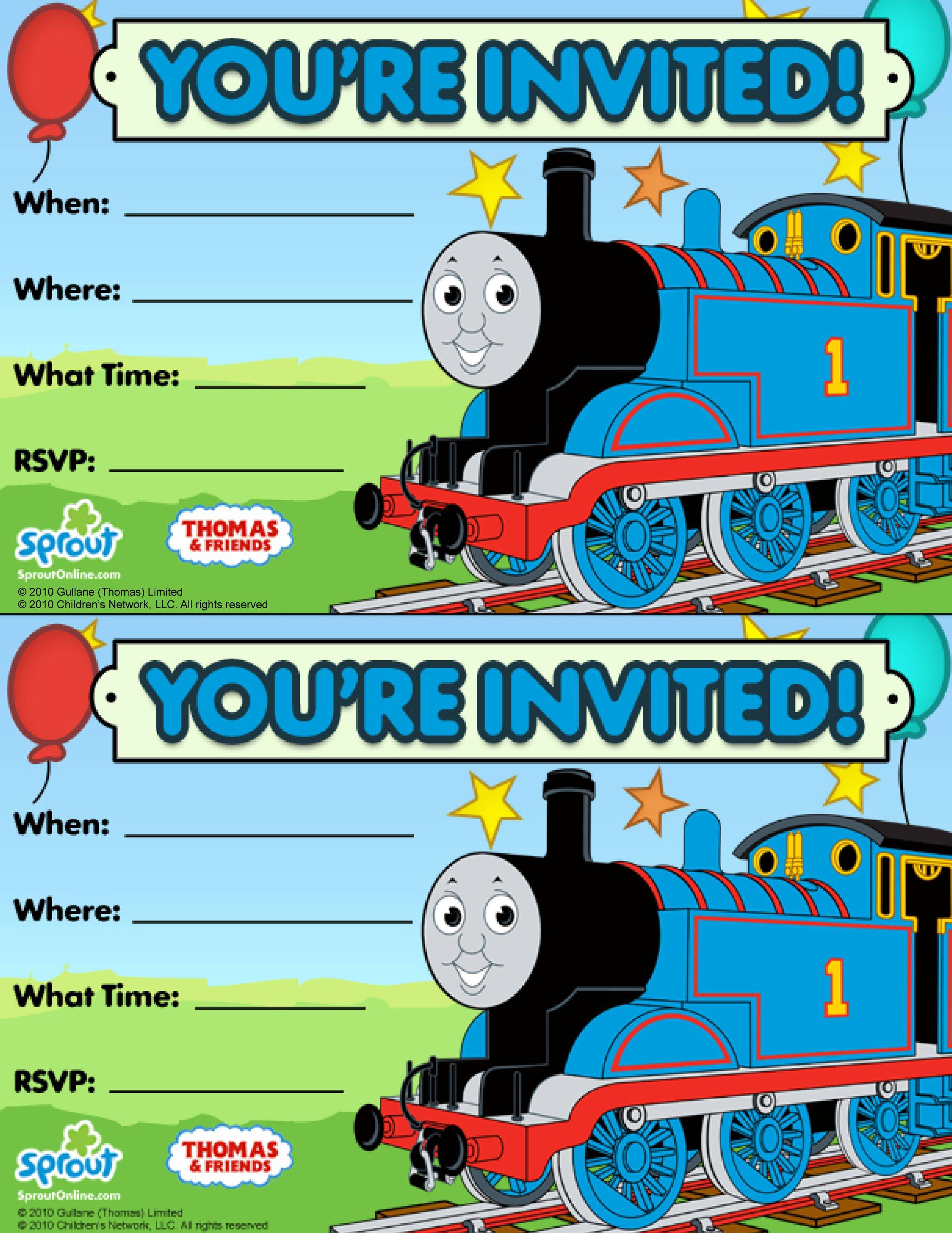 Thomas The Tank Engine Party Invite Templates