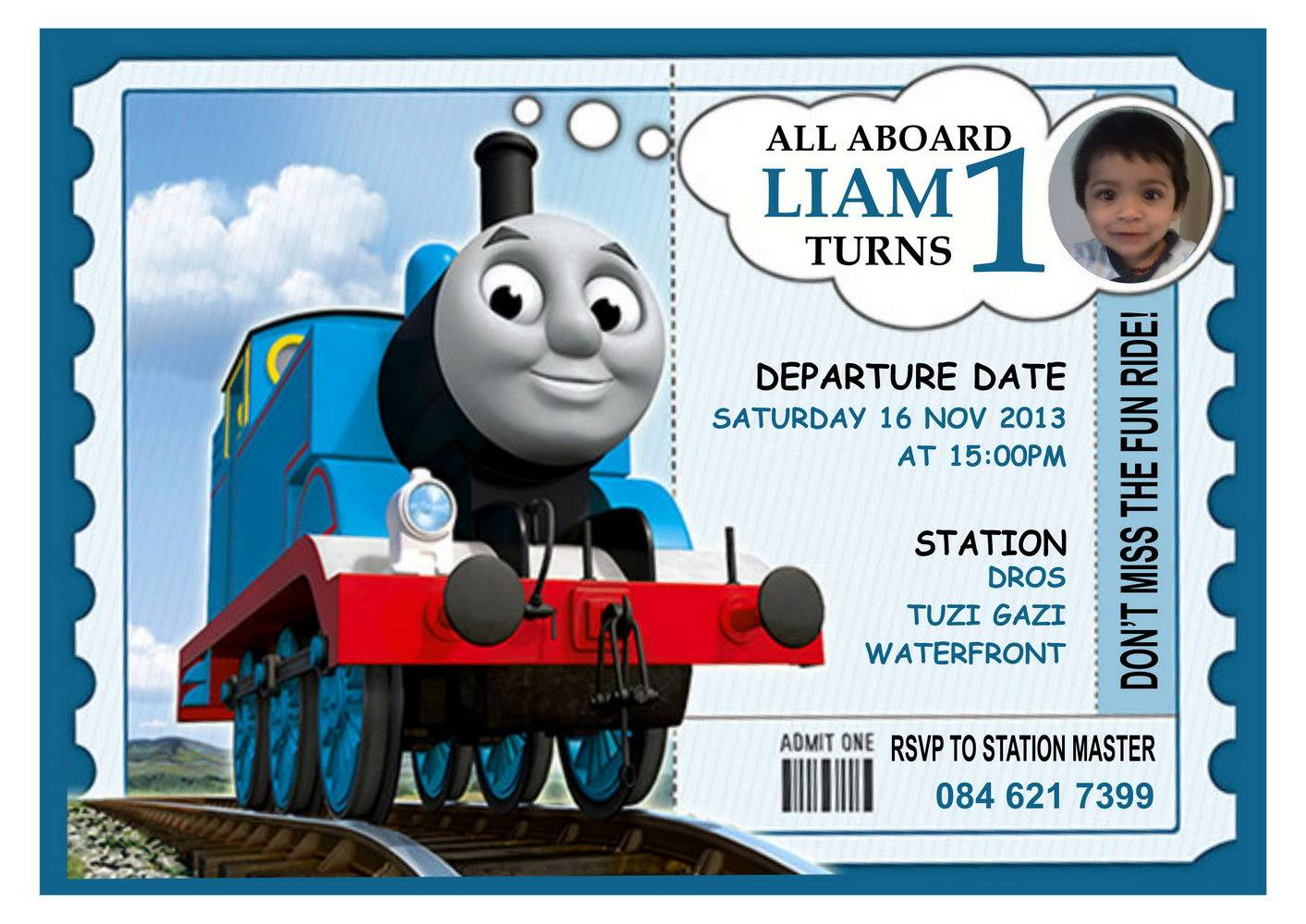Thomas Train Ticket Invitation Template