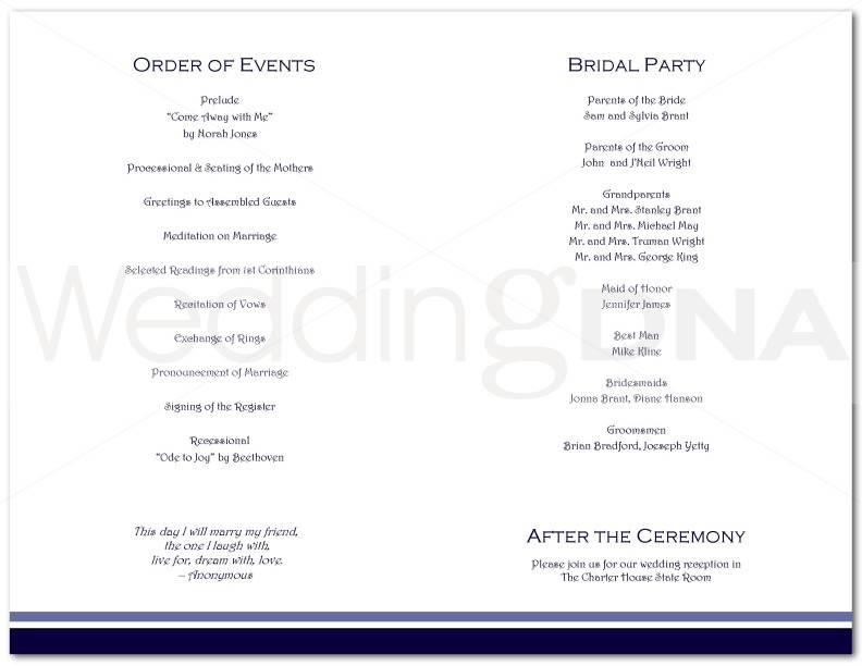 Traditional Wedding Program Format