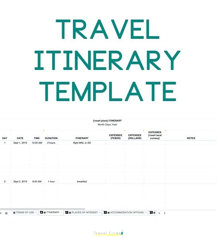 Travel Itinerary Template For Us Visa