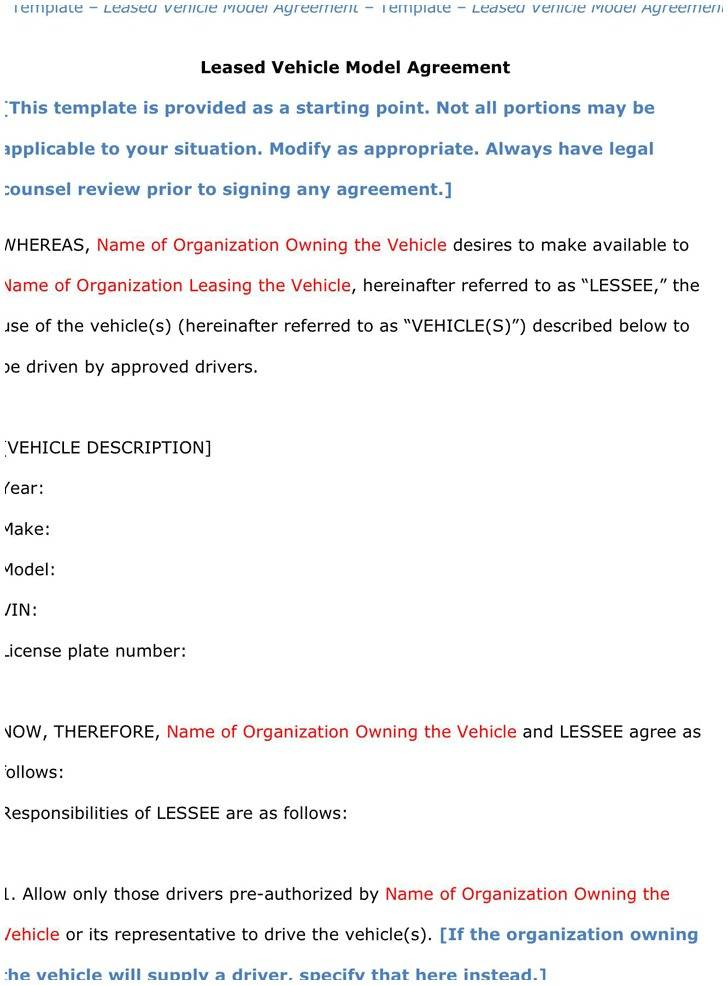 Truck Rental Lease Agreement Form