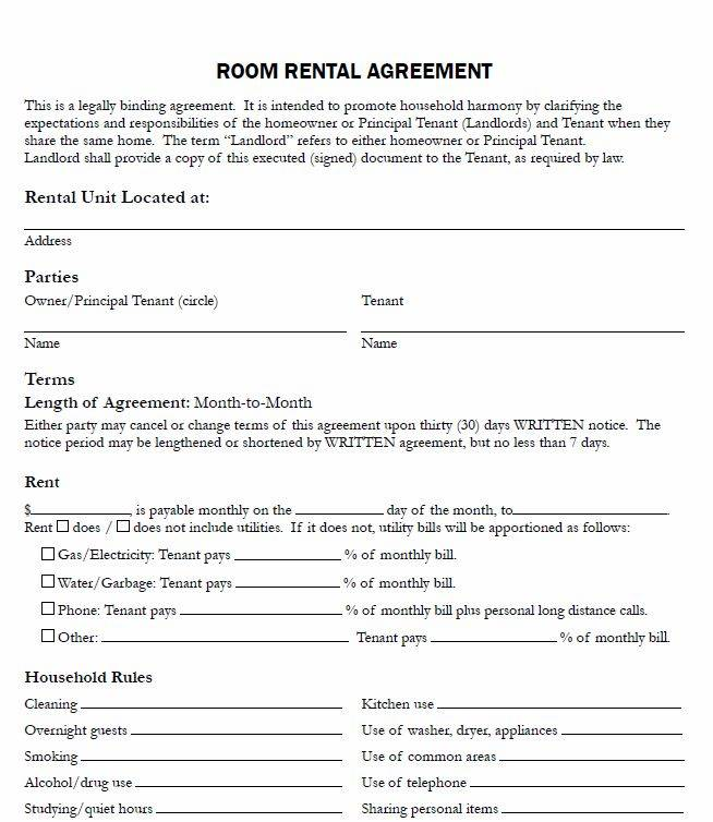 Room Rental Agreement Simple Form Templates 150951