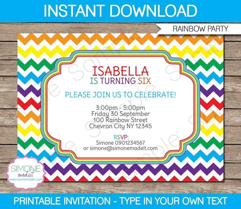 Unicorn Theme Birthday Invitation Template