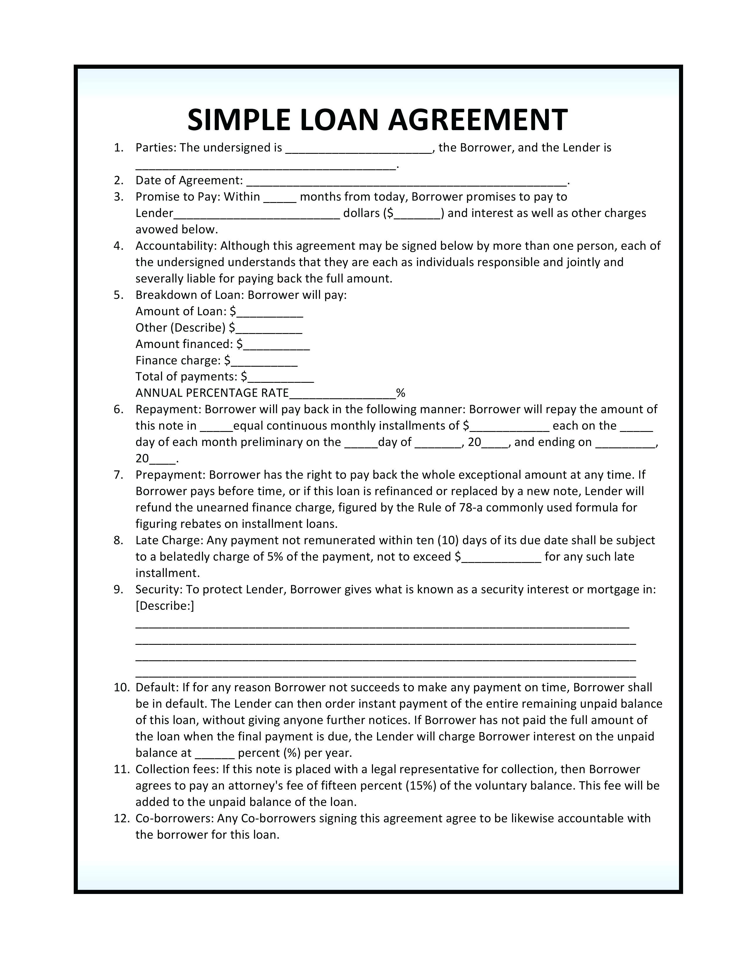 Unsecured Loan Template