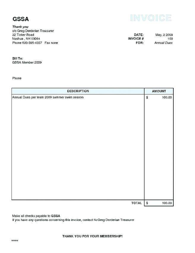 Usable Invoice Template