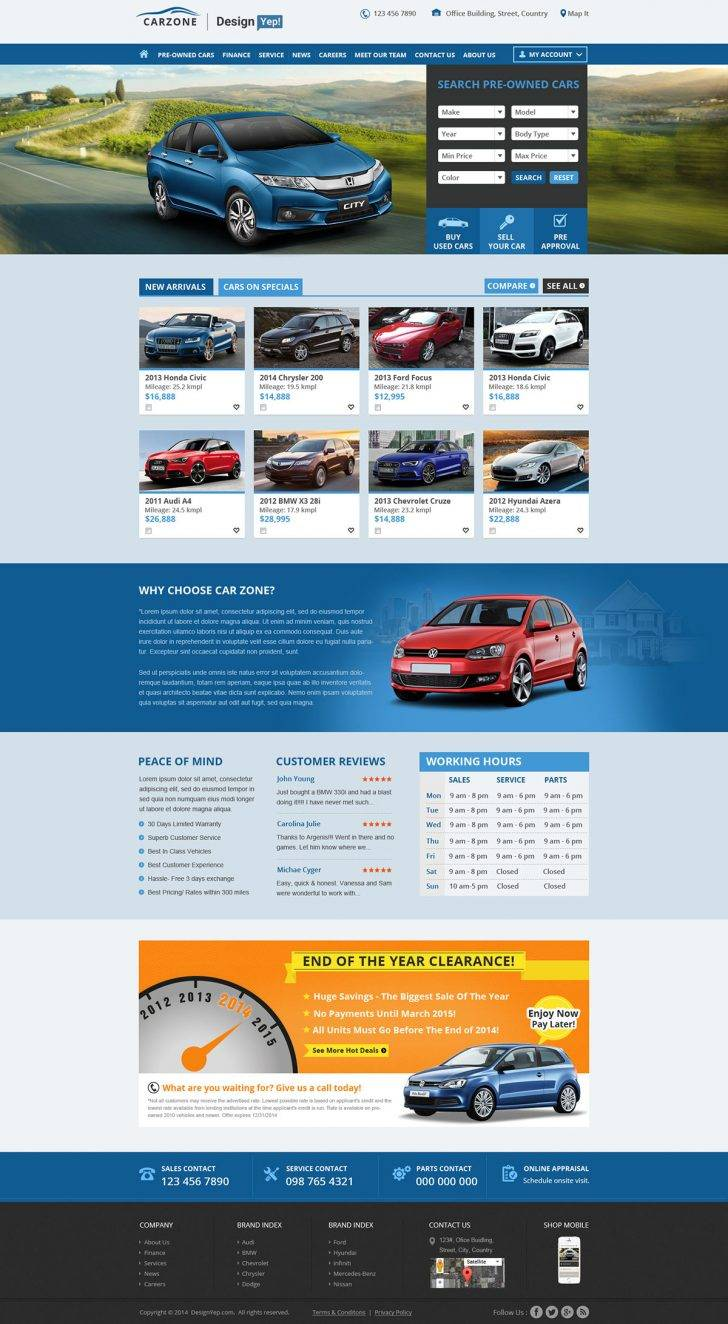 Used Car Website Templates Free