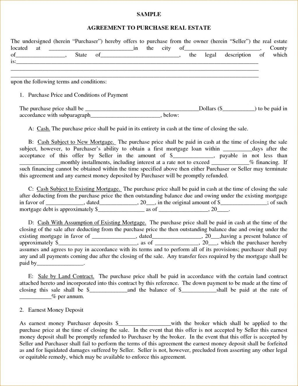 Vacant Land Purchase Contract Form