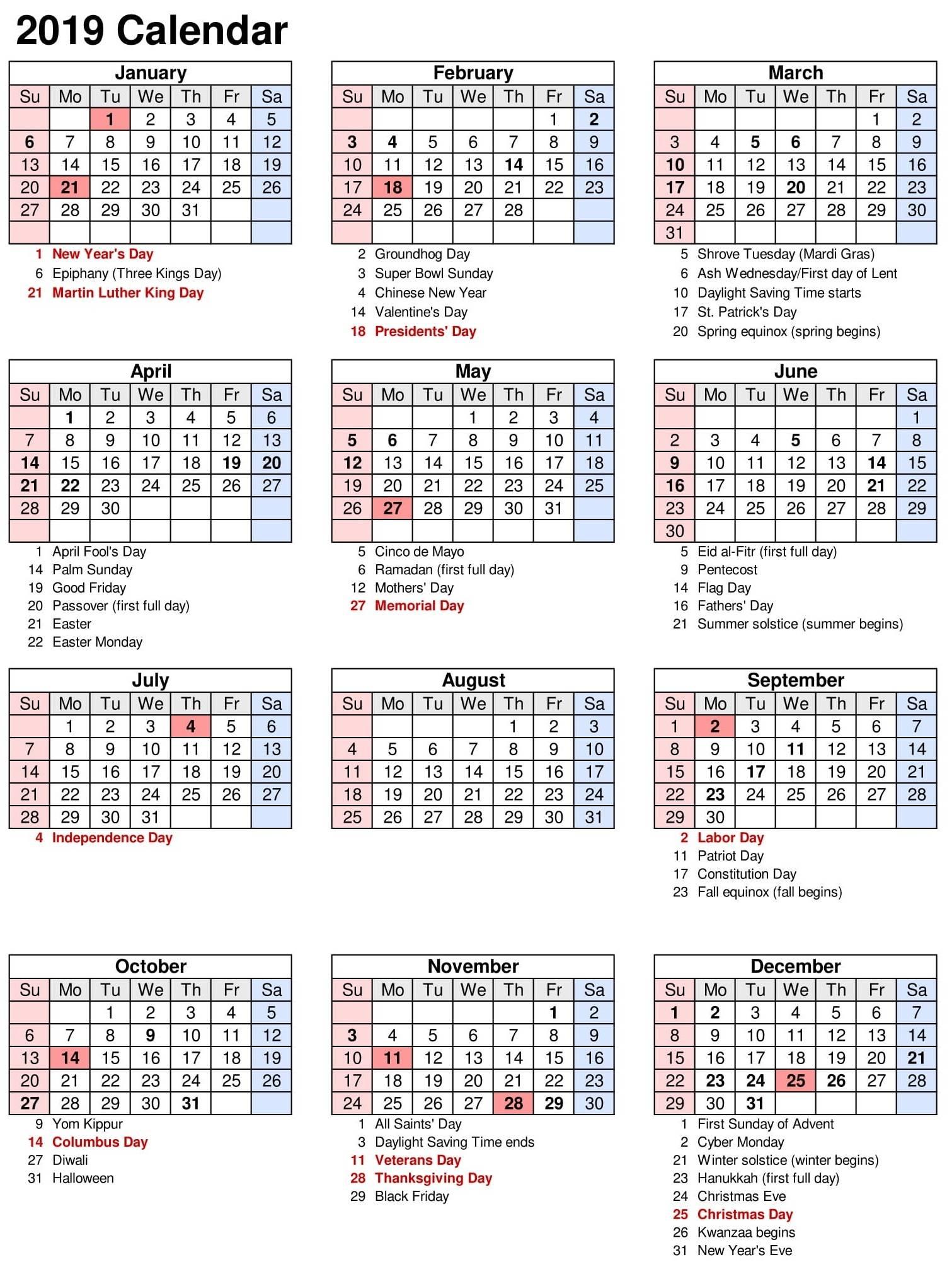 Vacation Calendar Template 2019