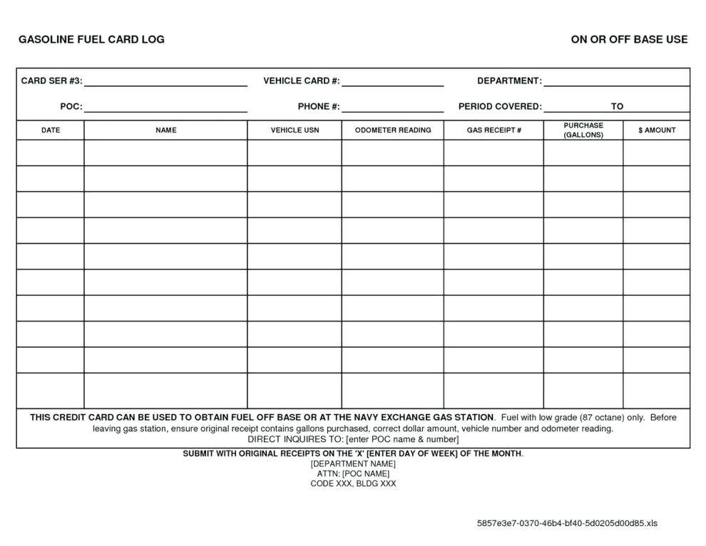Vehicle Mileage And Maintenance Log Template