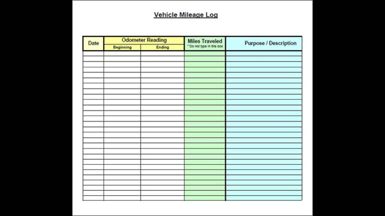 Vehicle Mileage Log Excel Template