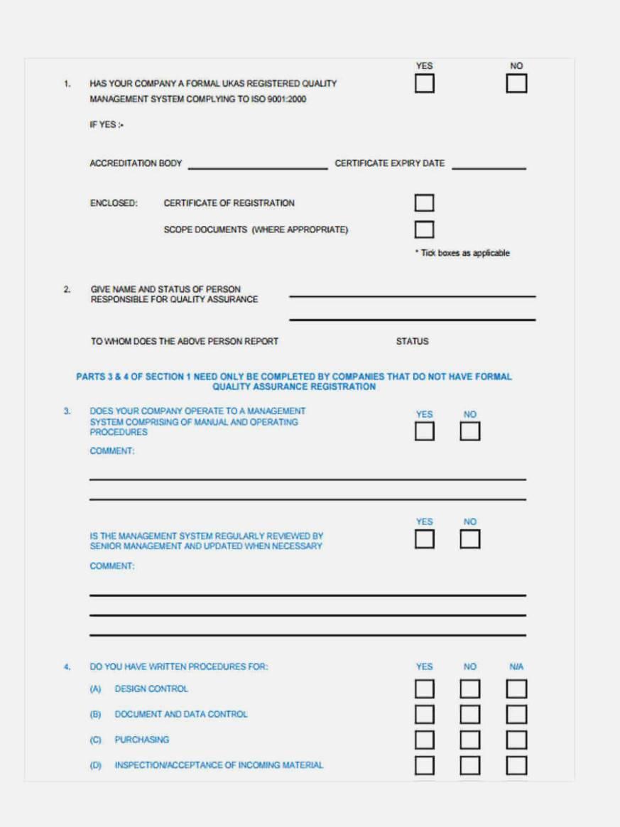 Vendor Assessment Form
