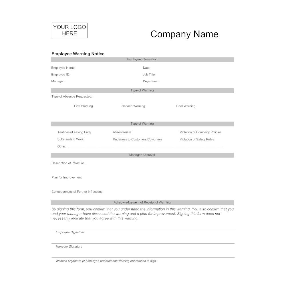 Verbal Disciplinary Form Template