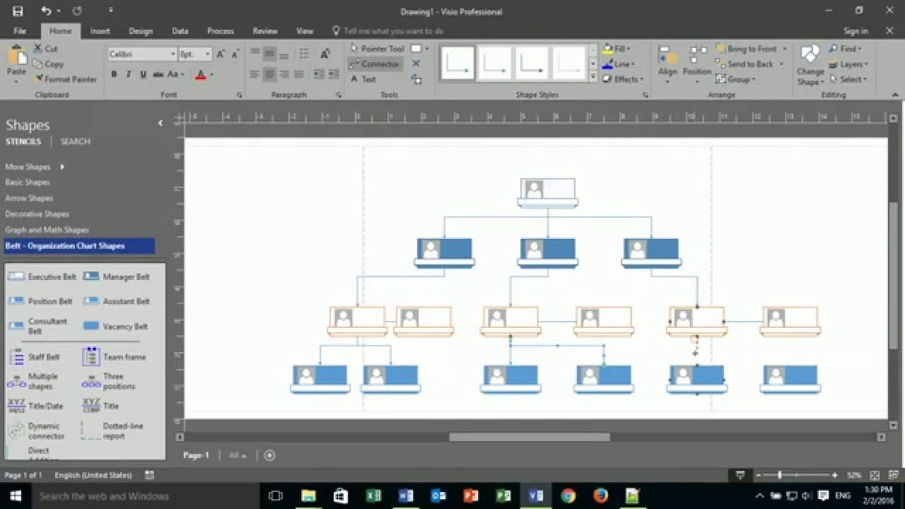 Visio 2013 Plain Org Chart Shapes