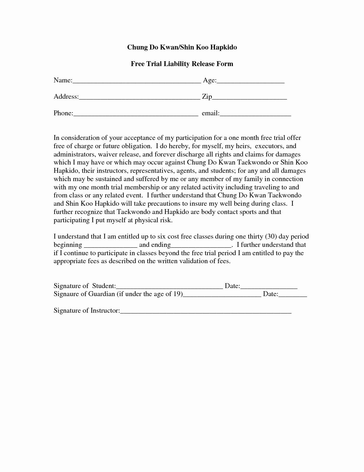 Waiver Form Template For Gym
