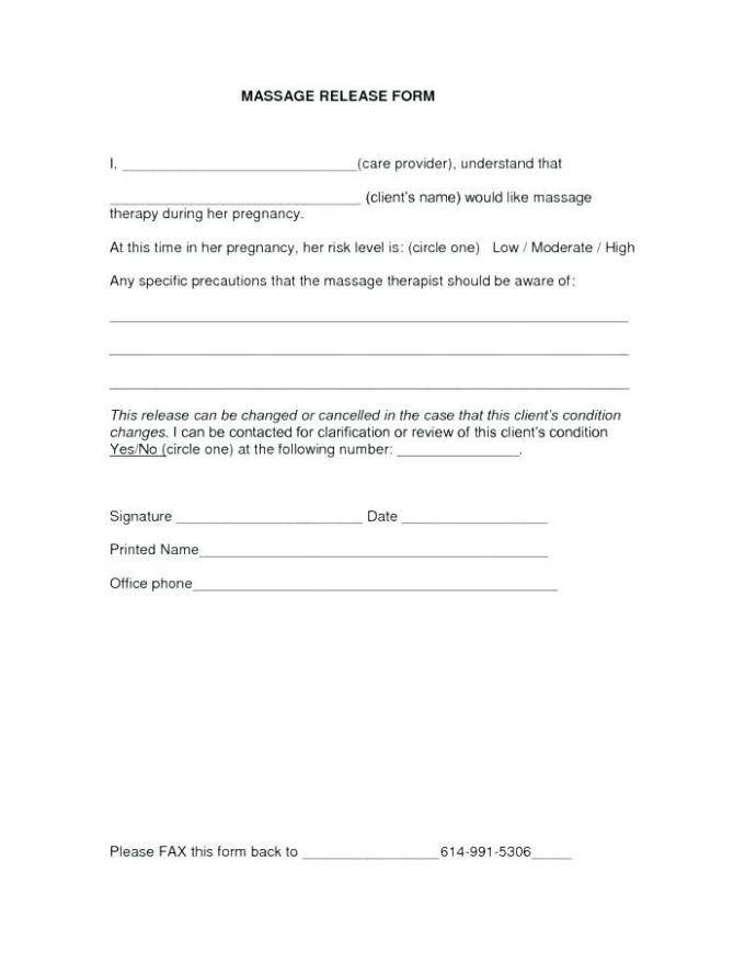 Waiver Form Template For Massage Therapy