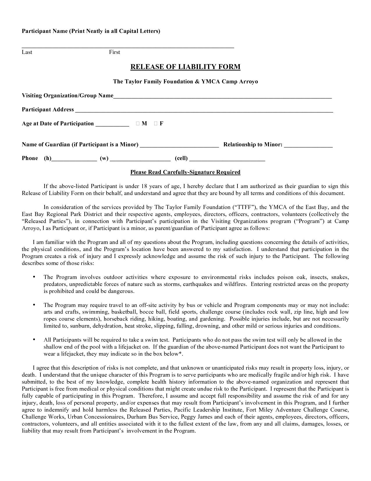 Liability Waiver Template Free Templates 16733 Resume