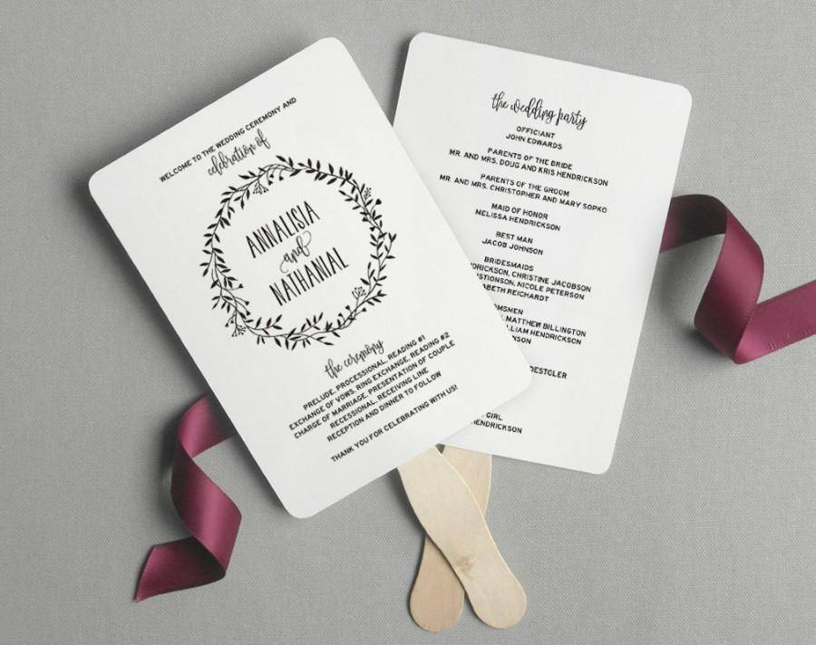 Wedding Ceremony Fan Program Template