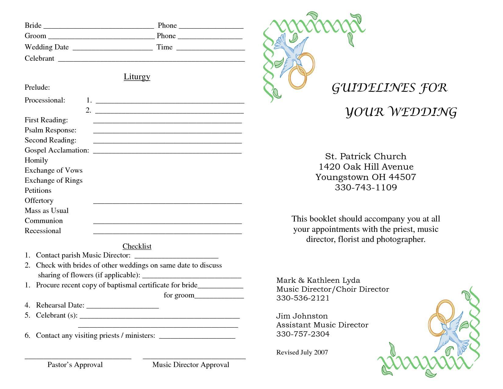 Wedding Ceremony Program Booklet Template
