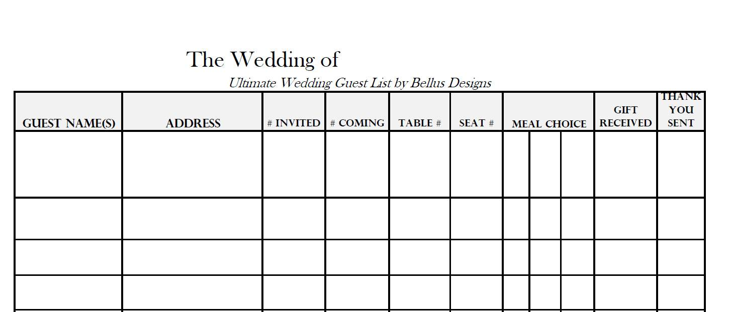 Wedding Guest List Template Free Printable