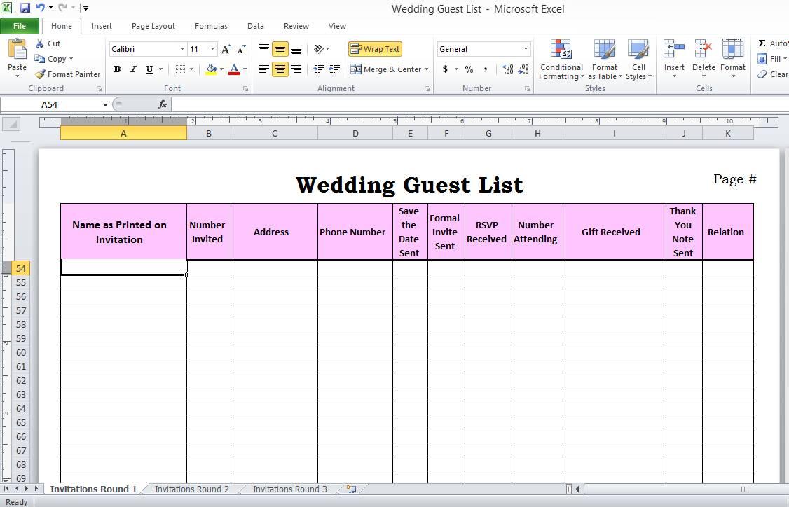 Wedding Guest List Template Uk