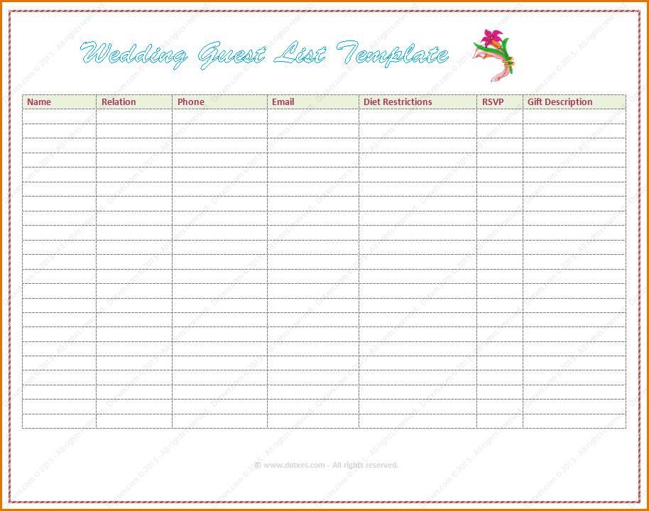 Wedding Guest List Template Word