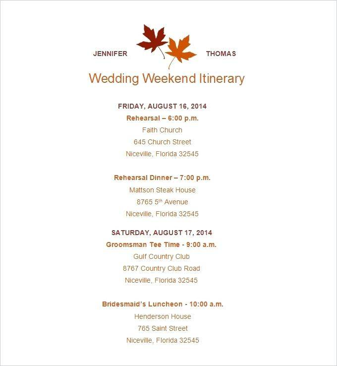 Wedding Itinerary For Out Of Town Guests Template