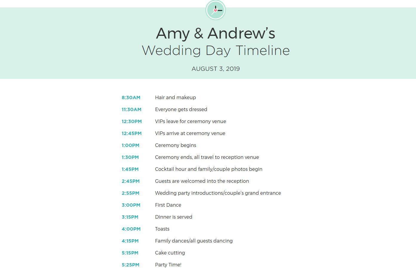 Wedding Itinerary Samples