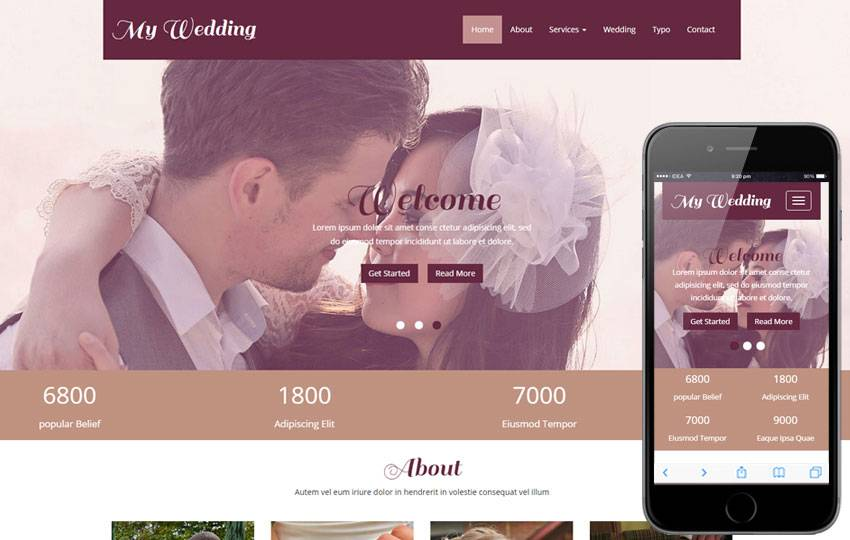 Wedding Planner Website Template Wordpress